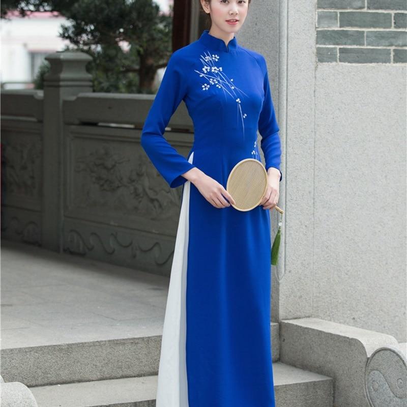 Modern Chinese Dress Cheongsam Qipao Online Chinese Store Female Robe De Soiree 2019 Japanese Kimono Ao Dai Vietnam Dress AA4426