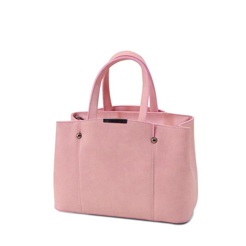 Nubuck Leather Female Simple Shoulder Bag Women Fashion Plain font b Handbag b font PU Leather