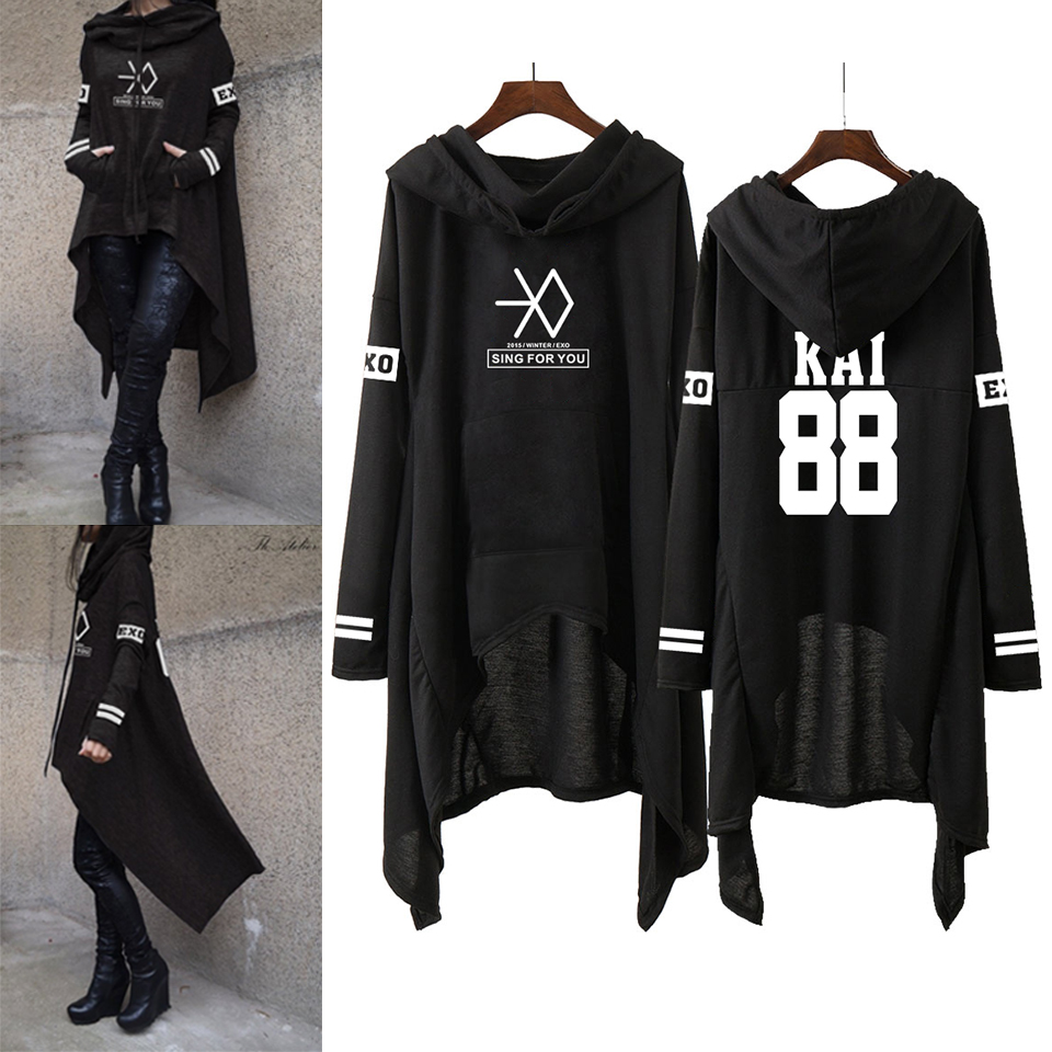 Kpop EXO nueva moda coreana EXO no ponen SE HUN KAI cantar EXO sudaderas con capucha Falda larga las mujeres Harajuku sudaderas las niñas jerseys