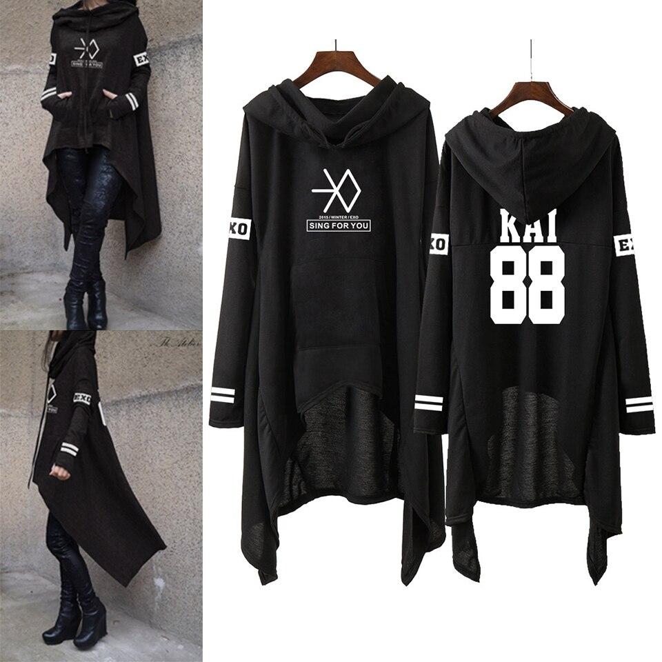Kpop EXO Nova Moda Coreana EXO NÃO ESTAVA SE HUN KAI CANTAR PARA VOCÊ EXO Hoodies mulheres Longa saia Harajuku camisolas Pullovers Meninas