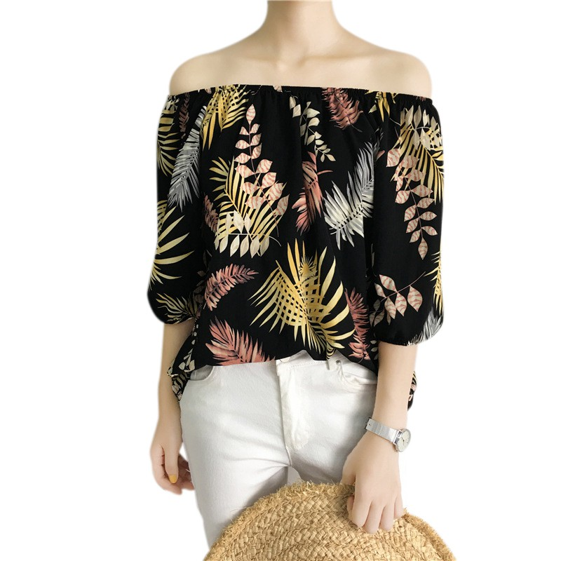 New Women Blouse Sexy Off Shoulder Slash Neck Top Half