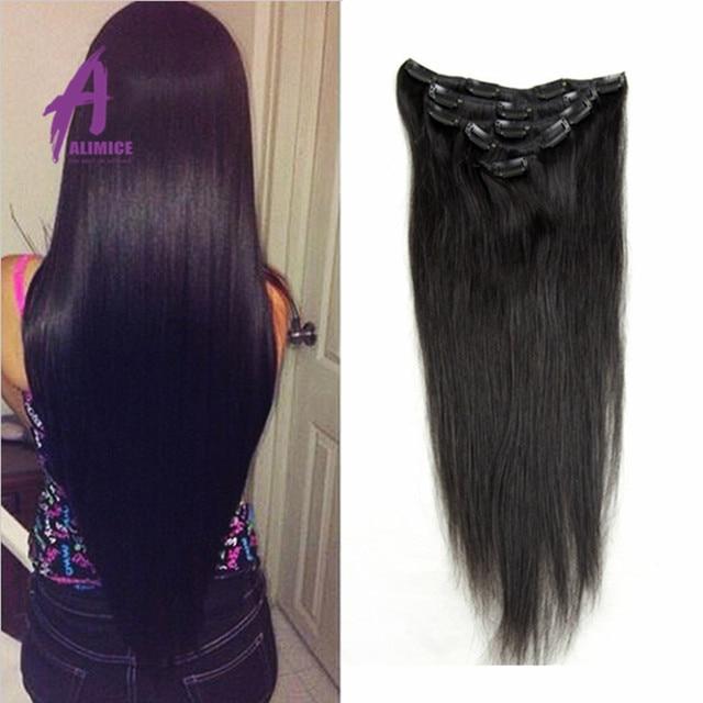 7a Yaki Natural Brazilian Virgin Hair Straight African American Clip