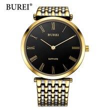BUREI Lente de Zafiro Reloj de Los Hombres de Primeras Marcas Reloj Masculino Nueva Moda Oro Acero Negro Dial Relojes de Pulsera de Cuarzo de La Venta Caliente