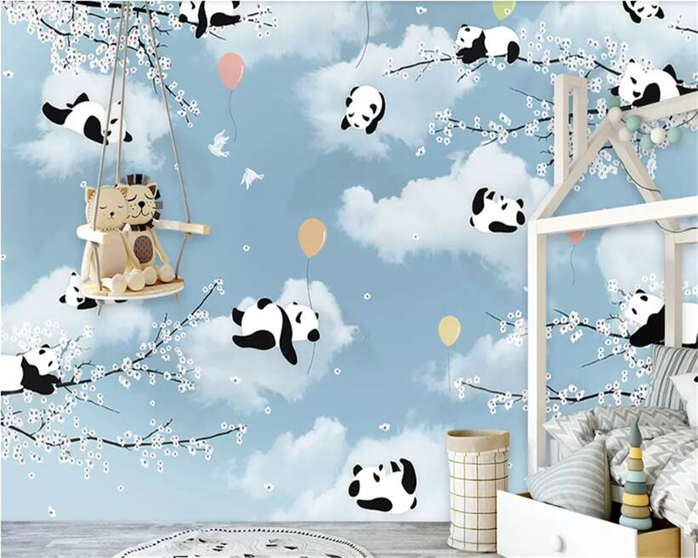 US $8.85 41% OFFbeibehang Customized simple cartoon cute panda warm moon  small yellow duck childrenu0027s room background wall decoration mural-in