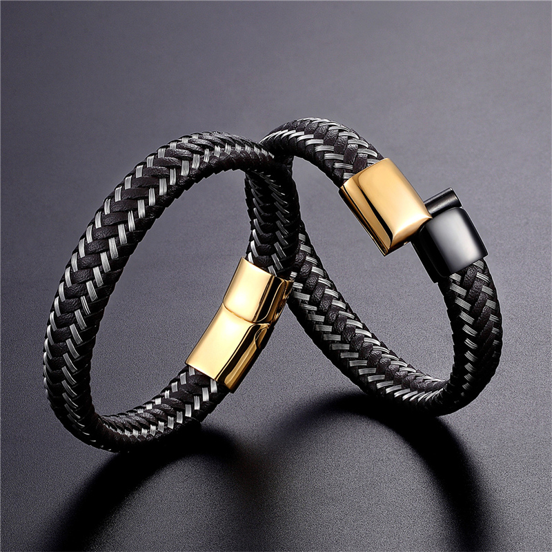 2019 New Design Handmade Braided Genuine Leather Bracelet & Bangle For Men Male Hand Jewelry Stainless Steel Fashion Bangles