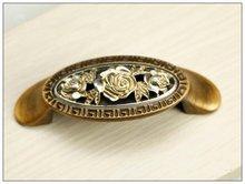 Декоративные античная кухонный шкаф ящика роза англии ретро ручкой (. : 64 мм, Длина : 84 мм )