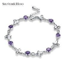 SILVERHOO Luxury Purple Zircon Chain Butterfly Bracelets for Women Inlay Charm Bangles Bride Wedding Jewelry 925 Sterling Silver