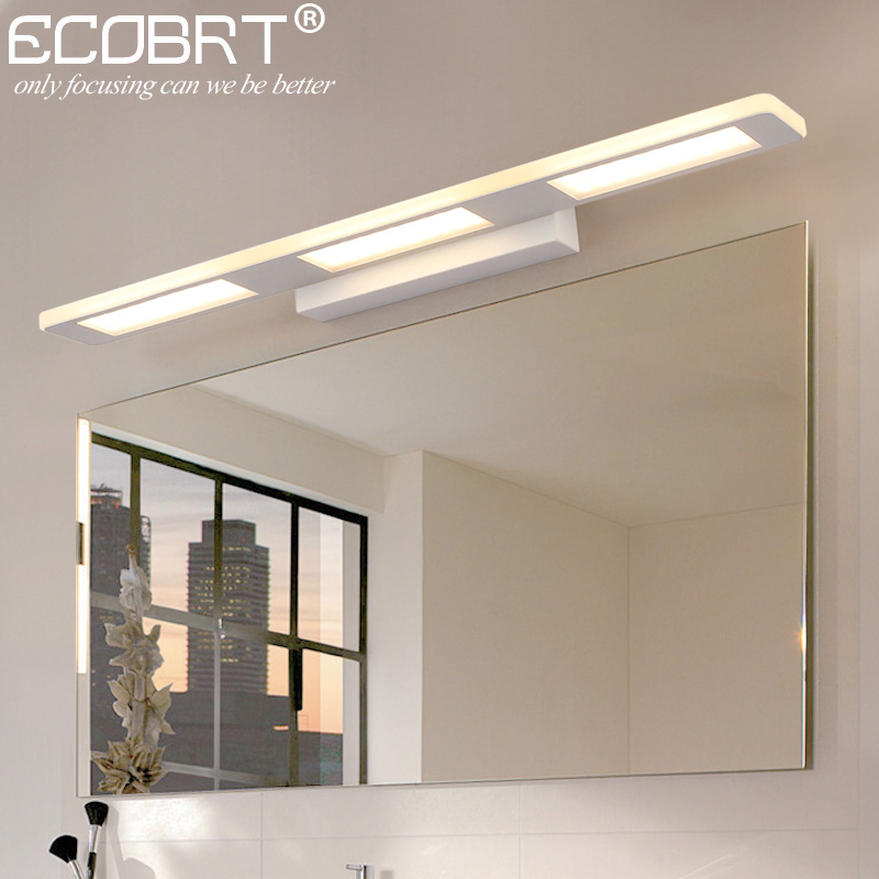 ECOBRT Modern 12W 18W Bathroom LED Wall Lights Fixtures for home Indoor White Wall Sconces 110-240V AC ecobrt 7w led mirror wall lamps 40cm long modern furniture led picture lights rotated arm for home bathroom wall light