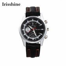 Irisshine i056 Men watch presente do menino marca de luxo Novos Homens Faixa de Relógio de Couro Liga Dial Quartz Relógio de Pulso