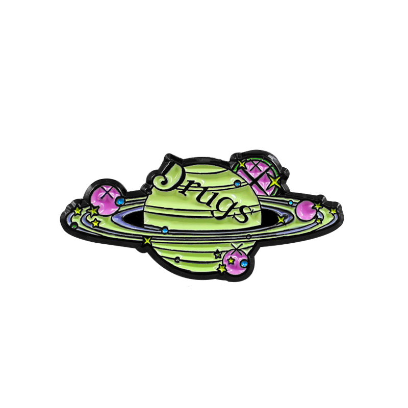 US $0.93 25% OFF|Green DRUGS Planet Metal Enamel Brooch Personality Saturn Planet Badge Pin Creative Trendy Costume Backpack Jewelry Accessories-in Brooches from Jewelry & Accessories on AliExpress