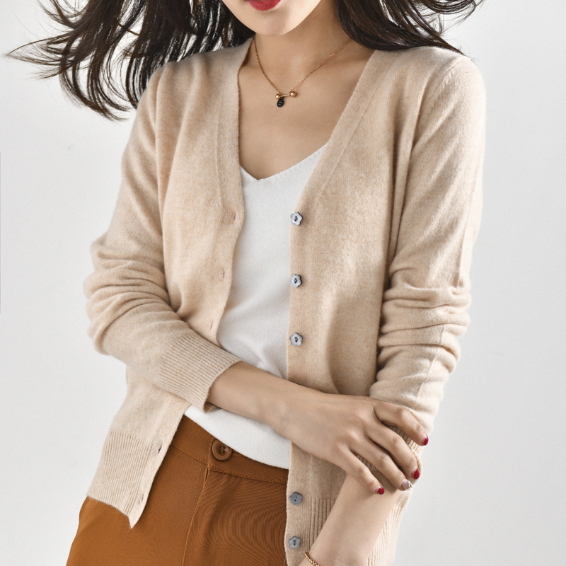 Women Jackets 100 Cashmere and Wool Knitting Cardigans Ladies V neck Soft Sweaters Cardigan Woman Clothes