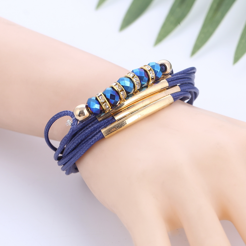 European Beads Charms Leather Bracelet for Womens