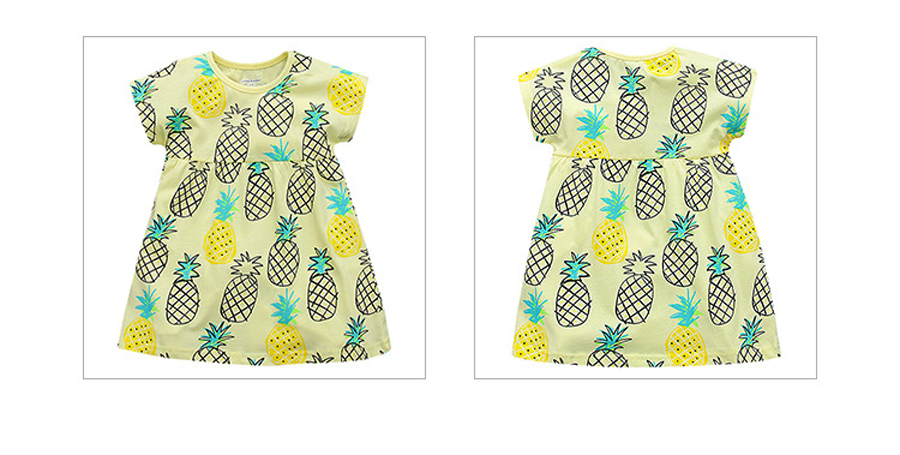 little maven 1-6year cotton party dresses yellow print pineapple little girls dresses o-neck girls dress for children clothing 7