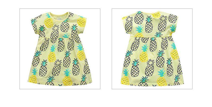 little maven 1-6year cotton party dresses yellow print pineapple little girls dresses o-neck girls dress for children clothing 7