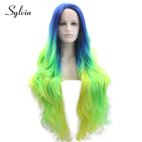 Sylvia Blue Green Yellow Ombre Natural Wave Synthetic Lace Front Wigs 180% Density Heat Resistant Fiber Hair for Woman