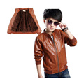 retro boy causal jacket coat solid velvet thick leather jacket coat for 2-14yrs boys kids children outerwear leather clothing