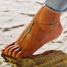 Fashion Woman green stone Anklet Beach Vacation Ankle Bracelet Bohemia Sexy Leg chain Female Statement Toe chain Foot Jewelry