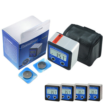 Digital Bevel Box Angle Gauge Meter Protractor Finder Magnetic Base Inclinometer x 4 pieces