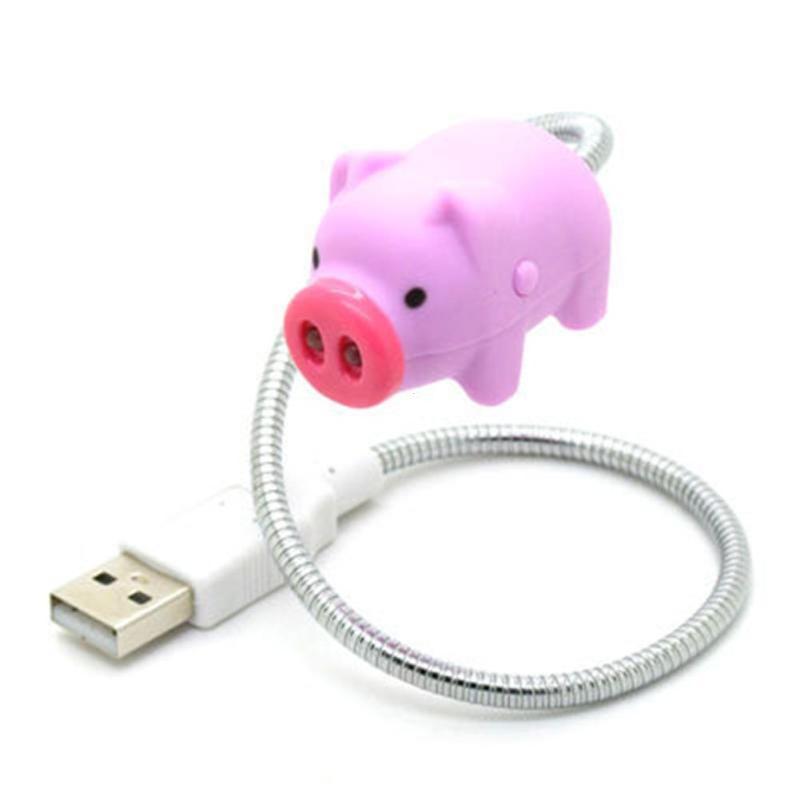 Мультфильм розовый поросенок и белый призрак ноутбука Портативный USB светодиодный свет гибкая стол шланг лампы с выключателем настольная л...