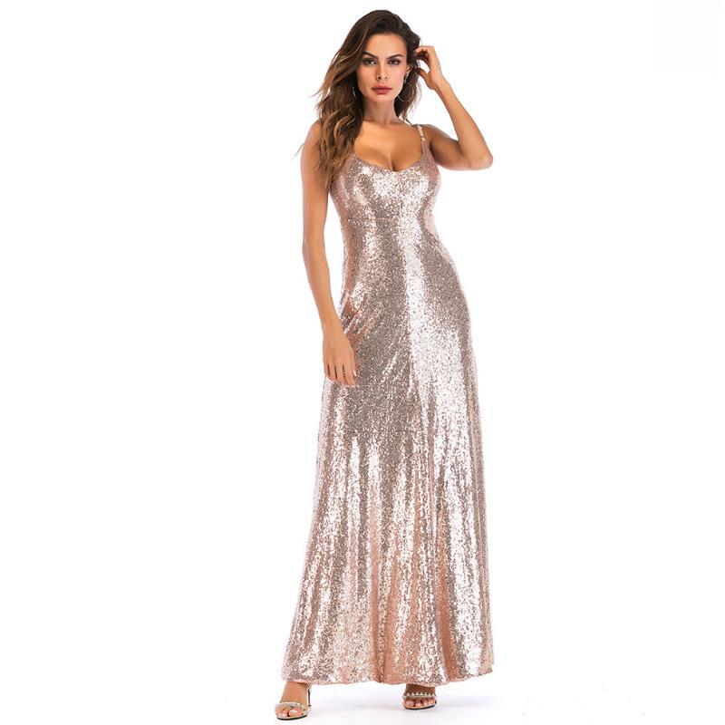 Sexy femmes robe à paillettes haut sans dossier robe de soirée à bretelles Sexy gracieuse hors épaule Sequin robes femme Maxi fête Clubwear
