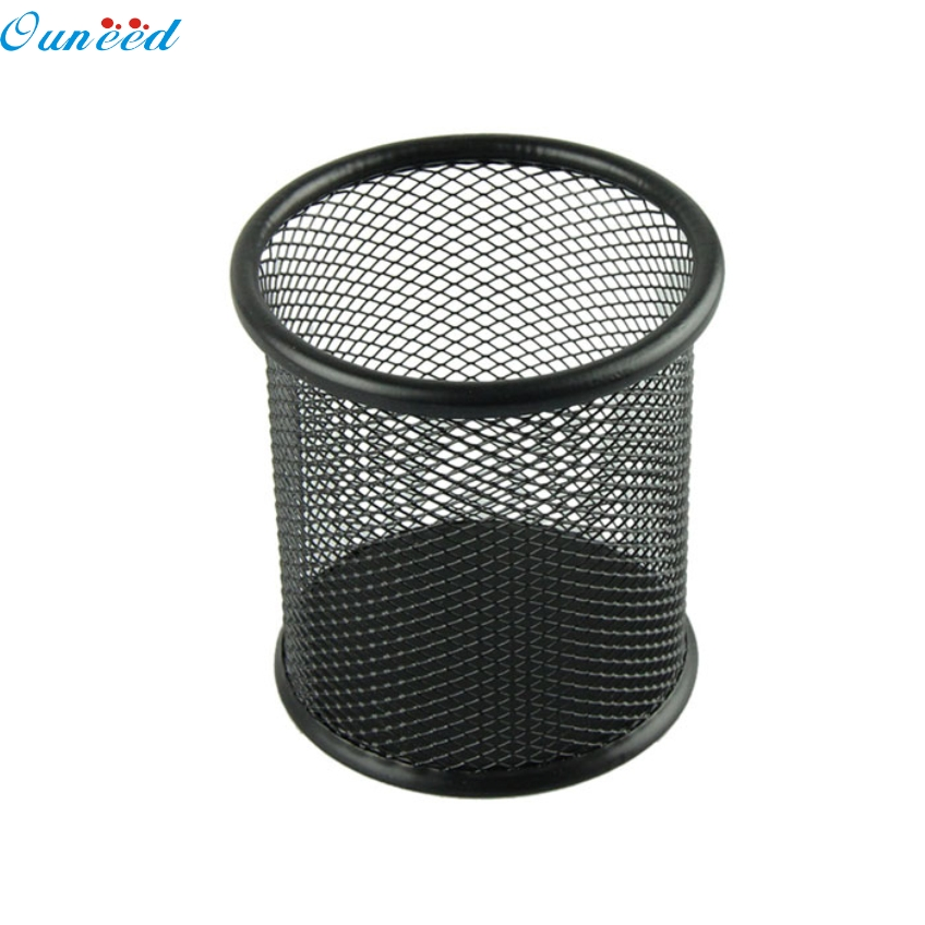 Ouneed Black Voberry Steel Metal Mesh Cylinder Pen Pencil Eraser Stationery Holder Container Pen Case Office Supplies Gifts