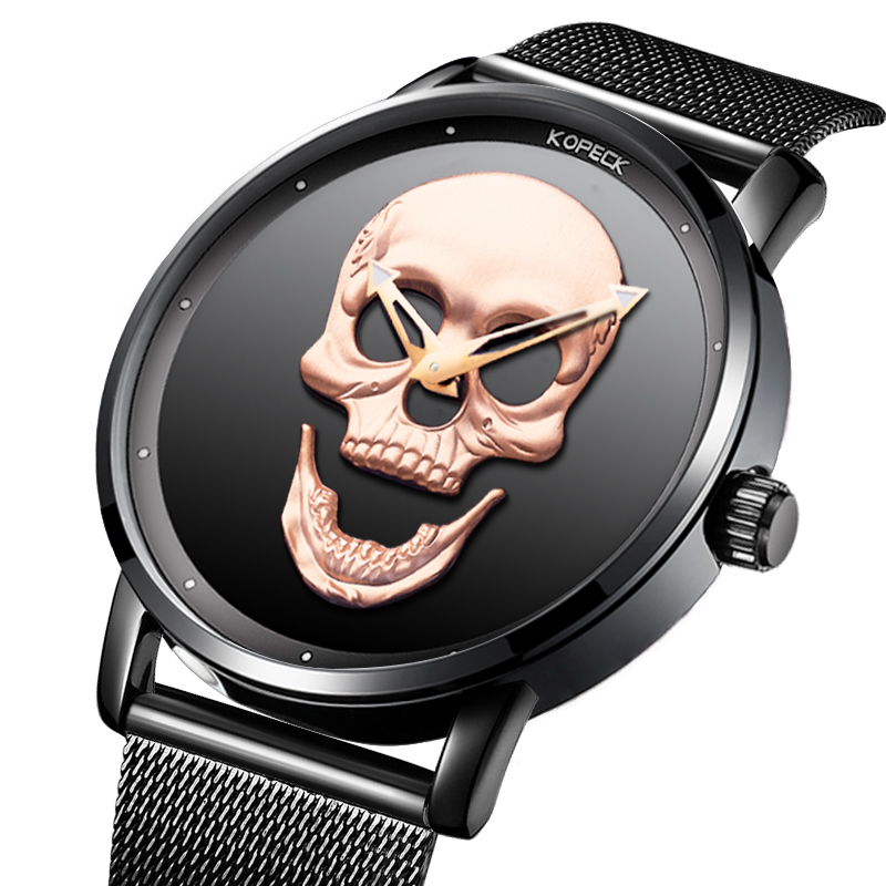 Fashion Sport Skull Men Watches Milan Stainless Steel Male Clock Luminous Hands Army Military Mens Quartz Watch 3ATM Waterproof