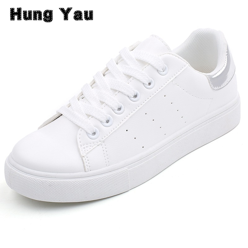 Hung Yau Women Shoes Casual Platform PU Leather Classic Women loafers Summer Style Casual Lace-Up White Shoes Sneakers Size 9 hung yau women oxfords flats casual platform black shoes woman spring summer style fashion women lace up flat shoes size us 8