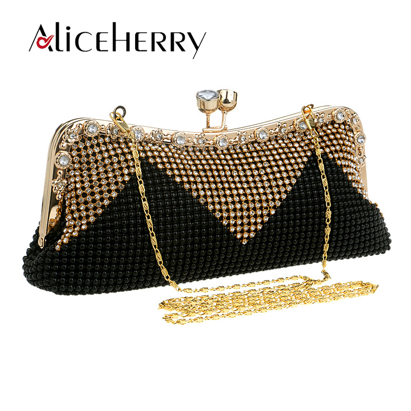 Women Shell Messenger Bags Luxury Handbags Designer Diamonds Shoulder Bags Lady Grace Black Evening Party Crystal Clutch Bags