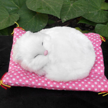 new small simulation cat toy polyethylene & furs white sleeping mat cat model gift about 14x11cm