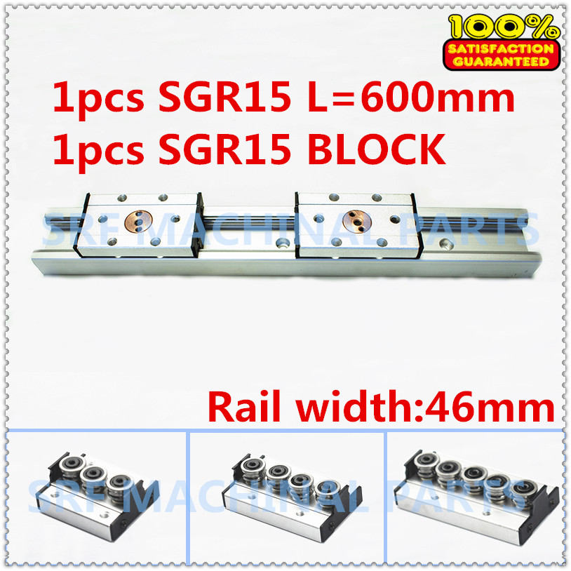 1pcs Aluminum Square Roller Linear Guide Rail SGR15 L=600mm +1pcs SGB15 wheel slide block linear Motion slide rail for CNC part 1pcs sbr50uu linear slide block for sbr50 linear guide