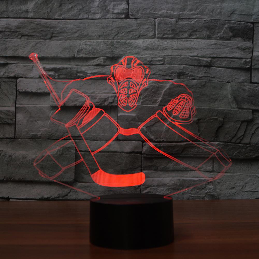 Novelty Ice Hockey LED Night Light 3D Colorful Visual Desk Lamp Home Decor Sports Fans Gifts Bedroom Boy Bedside Light Fixture