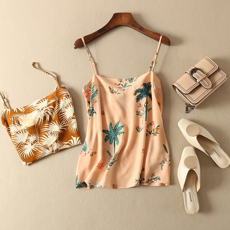 Women Tops Printed Viscosecamis Back Bow Charm Tank Two Colors