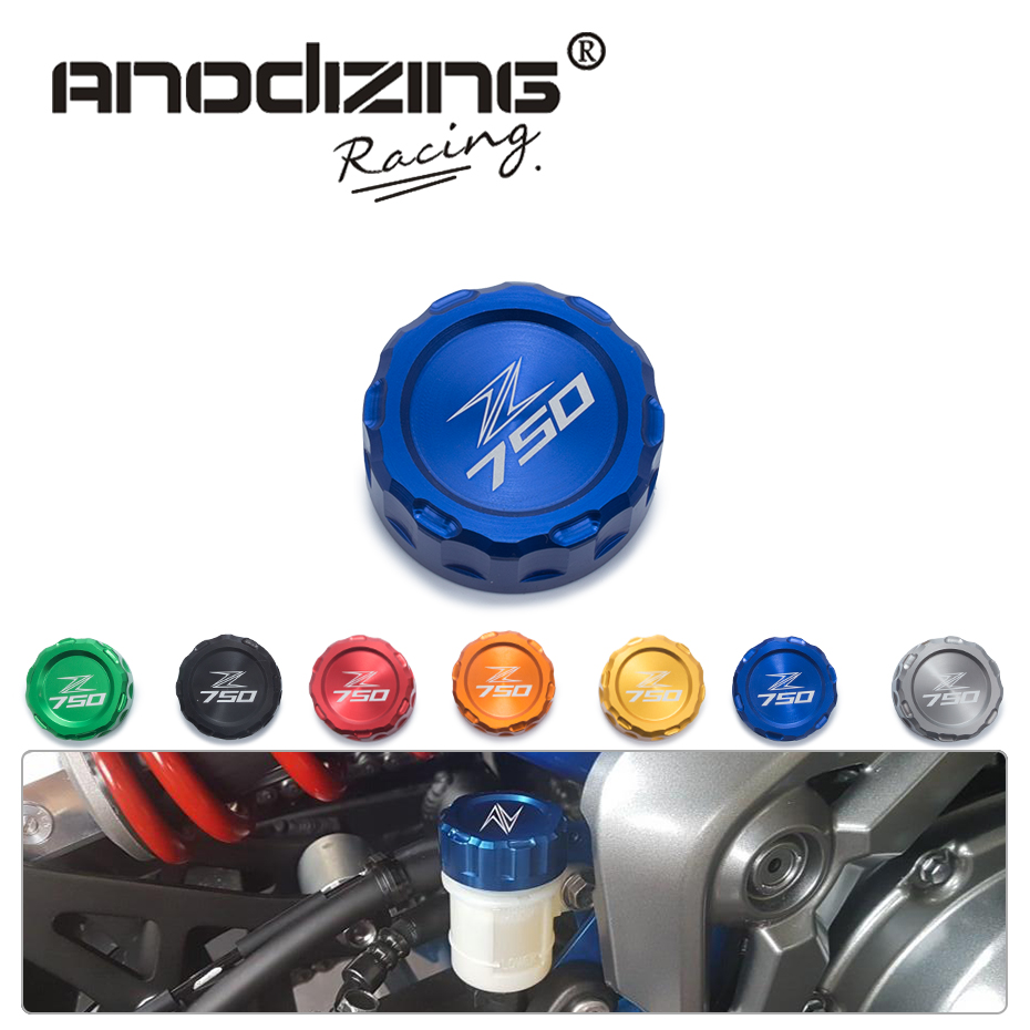 Motorcycle CNC Aluminum Rear Brake Fluid Reservoir Cover Cap For Kawasaki Z750 Z 750 with z750 logo universal motorcycle brake fluid reservoir clutch tank oil fluid cup for mt 09 grips yamaha fz1 kawasaki z1000 honda steed bone