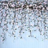 Luyue 155 cm Pianki drzewo vine Sztuczny Jedwab Magnolia Kwiaty Ślub Decor Fałszywy Symulacja Kwiat Rattan TV Ściana wystrój