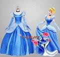 Mulheres das senhoras Fancy Dress Adulto Cinderella Princess Dress Cosplay Traje Com Agitação
