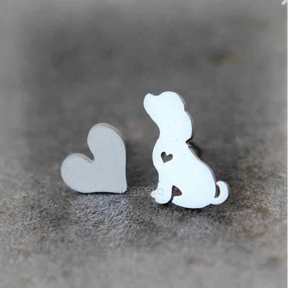 Daisies Puppy And Heart Stud Earrings Tiny Earrings For Women Girl Animal Jewelry