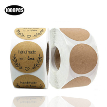 1000PCS Wedding 1inch Round Retro Kraft Paper Stickers Seal Labels Home hand made Ramadan Accessories Gifts Invitation