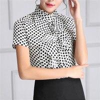 New 2017 Summer Short Sleeve Shirt Ruffled Polka Dot Blouse Womens Tops And Blouses Korean Style