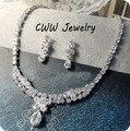 100% Gota de Agua de Lujo Flor CZ Diamond Crystal Collar Colgante Y Pendientes de La Joyería de La Boda Para Las Novias de Novia T045