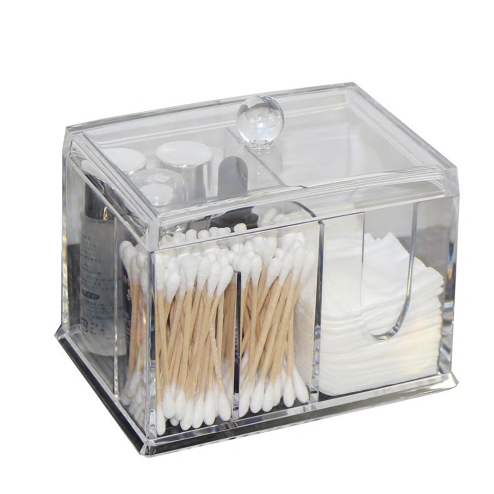 Transparent Cotton Swab Box Clear Acrylic Organizer Holder Makeup Pads Storage Box Desktop Organizer Jewelry Case For Cosmetics
