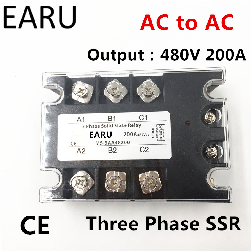 TSR-200AA SSR-200AA Three Phase Solid State Relay AC90-280V Input Control AC 30~480V Output Load 200A 3 Phase SSR Power AA48200