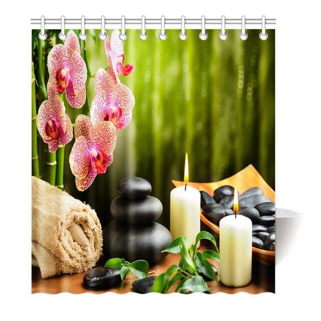 Duschvorhang Orchidee Bambus Mit Kerzen Steine Druck Wasserdicht  Mildewproof Polyester Stoff Badvorhang Bad