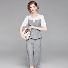 Elegant Office Lady Formal Two Piece Outfits 2018 Summer Designer Short Sleeve Striped Shirt Pants Suit Set Women's Clothing Set