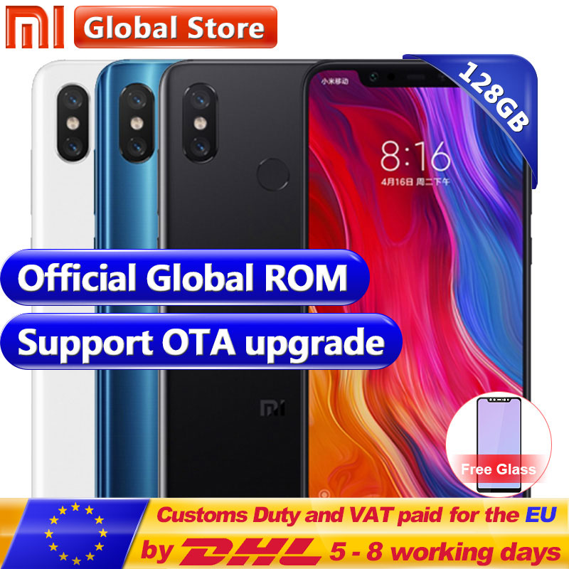 Nouvelle D'origine Xiao mi mi 8 128 gb ROM Snapdragon S845 Octa Noyau Mobile Téléphone 6 gb RAM 3400 mah double 12.0MP + 20.0MP 6.2 2248*1080 FHD +