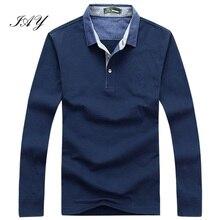 65% baumwolle mann Polo shirts Herbst Neueste einfarbig lange hülse Stickerei Logo Casual mann Brand polos casima plus größe 3XL