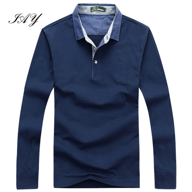65% cotton man Polo shirts Autumn Newest solid color long sleeve Embroidery Logo Casual man Brand polos casima plus size 3XL