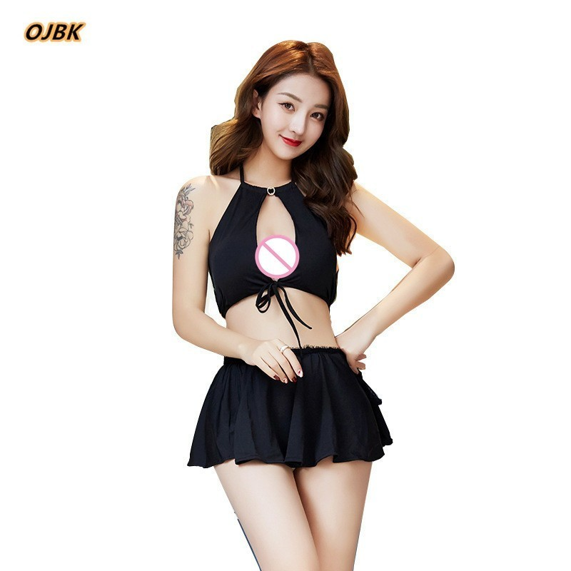 Sexy Open Bra Uniform Costumes Role Play Women Sex Lingerie Hot Erotic Top and Underwear Lovely Female black Lace Skirt 1