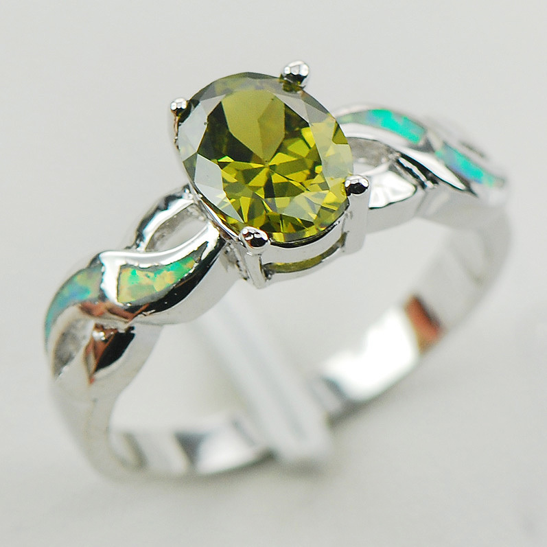 Peridot White Fire Opal 925 Sterling