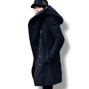 Image 2 - Erkek kış vintage uzun hırka 2018 erkek yün ve karışımları kapüşonlu ceket erkekler manteau homme streetwear Kewlstyle asya boyutu TR07
