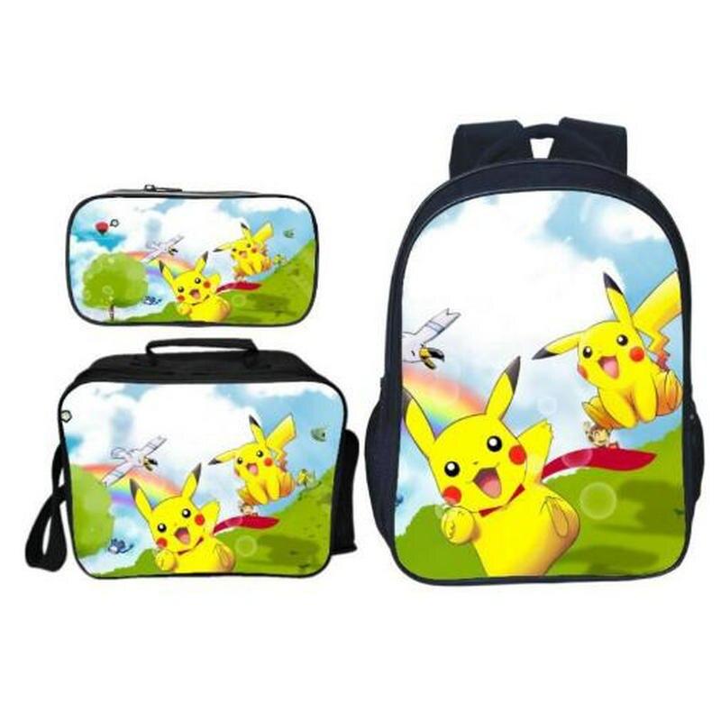 Mode mignon dessin animé impression Pikachu enfants bébé sacs d'école Pokemon 3 pièces/ensemble enfants sacs à dos pour filles Bookbag garçons cartable